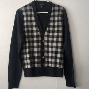 Club Monaco Plaid Wool Cardigan Sz XS